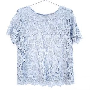 Philosophy Gray Floral Lace Short Sleeve Top